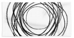 Black Doodle Circular Shape Bath Towel by GoodMood Art