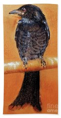 Hand Towel featuring the painting Black Drongo  by Jasna Dragun