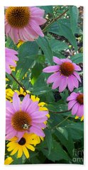 Black Eye Susans And Echinacea Bath Towel
