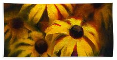Hand Towel featuring the painting Black Eyed Susans - Vibrant Flowers by Karen Whitworth