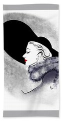 Bath Towel featuring the digital art Black Hat Red Lips by Cindy Garber Iverson