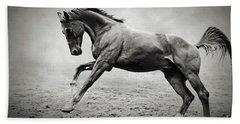 Black Horse In Dust Bath Towel