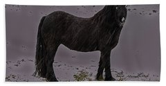 Black Horse In The Snow Bath Towel