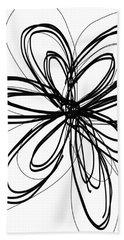 Black Ink Flower 1- Art By Linda Woods Bath Towel