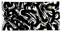 Black Ink Gold Paint Hand Towel
