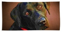 Hand Towel featuring the painting Black Lab Goes To The Studo by Joseph J Stevens