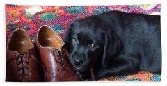 Black Lab Puppy Hand Towel by Robin Regan
