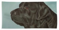 Black Labrador Dog Profile Painting Hand Towel
