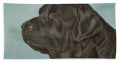 Black Labrador Dog Profile Painting Hand Towel