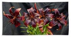 Black Lilies Hand Towel