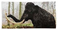 Hand Towel featuring the digital art Black Mammoth by PixBreak Art