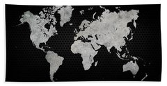 Hand Towel featuring the digital art Black Metal Industrial World Map by Douglas Pittman