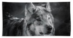 Black N White Wolf Bath Towel by Elaine Malott