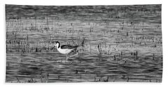 Black-necked Stilt Monochrome  Bath Towel