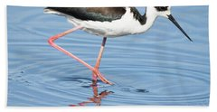 Black-necked Stilt Wading  Bath Towel