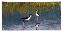 Hand Towel featuring the photograph Black-necked Stilts by Patricia Griffin Brett