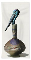 Black Necked Stork Stuffed Inside The Gilded Bottle Bath Towel by Keshava Shukla