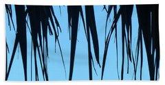 Black Palms On Blue Sky Bath Towel