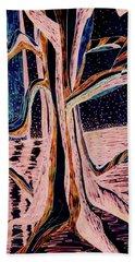 Black-peach Moonlight River Tree Bath Towel