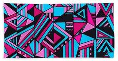 Black Pink Blue Geometric Design Bath Towel
