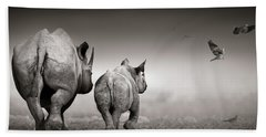 Black Rhino Cow With Calf  Hand Towel