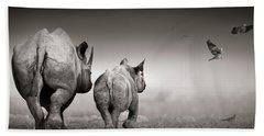 Black Rhino Cow With Calf  Hand Towel