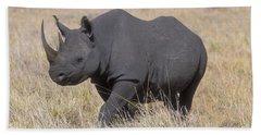 Black Rhino On The Masai Mara Hand Towel