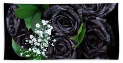 Black Roses Bouquet Bath Towel