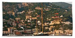 Black Sailboat At Villefranche II Hand Towel