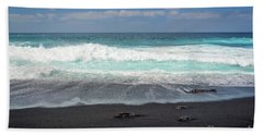 Black Sand Beach Hand Towel by Delphimages Photo Creations