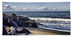 Black Sand Beach  Bath Towel by Douglas Barnard