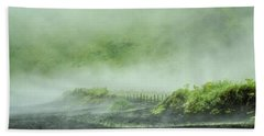 Black Sand Beach In The Mist Bath Towel by Joan Davis