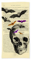 Black Skull And Bats On A Dictionary Page Bath Towel