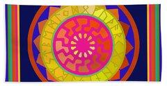 Black Sun Mandala Rune Calendar Hand Towel