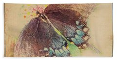 Black Swallowtail Butterfly Framed  Bath Towel