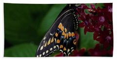 Bath Towel featuring the photograph Black Swallowtail Butterfly by Jay Stockhaus