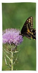 Hand Towel featuring the photograph Black Swallowtail Butterfly by Sandy Keeton
