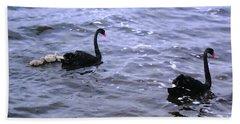 Black Swan Family Hand Towel by Cassandra Buckley