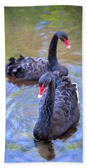 Bath Towel featuring the photograph Black Swans by Susan Rissi Tregoning