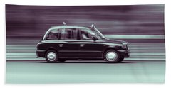 Black Taxi Bw Blur Bath Towel