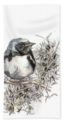 Black-throated Blue Warbler Bath Towel