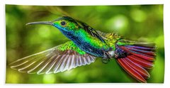 Bath Towel featuring the photograph Black Throated Mango Sparkles by James Solomon