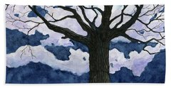Black Tree At Night Hand Towel by Anne Marie Brown