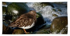 Black Turnstone Bath Towel by Inge Riis McDonald