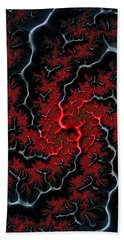 Black Veins Red Blood Abstract Fractal Art Bath Towel