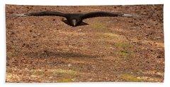 Black Vulture In Flight Bath Towel by Chris Flees