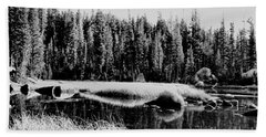 Black White Lake Bath Towel by Chuck Kuhn