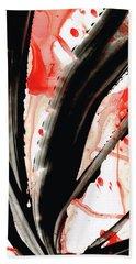 Bath Towel featuring the painting Black White Red Art - Tango 2 - Sharon Cummings by Sharon Cummings