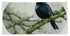 Blackbird Painting Hand Towel