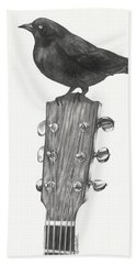 Bath Towel featuring the drawing Blackbird Solo  by Meagan  Visser